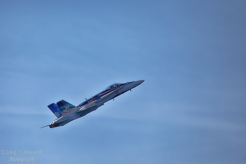 "The ""True North Strong and Free"" CF-18 Hornet at the Canadian International Air Show in Toronto."
