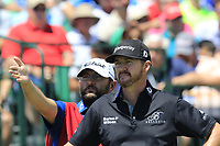 Jimmy Walker (USA) and caddy on the 1st tee to start his match during Thursday's Round 1 of the 117th U.S. Open Championship 2017 held at Erin Hills, Erin, Wisconsin, USA. 15th June 2017.<br /> Picture: Eoin Clarke | Golffile<br /> <br /> <br /> All photos usage must carry mandatory copyright credit (&copy; Golffile | Eoin Clarke)