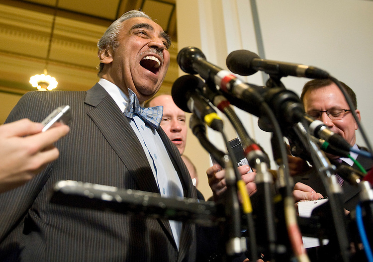 Rep. Charlie Rangel, D-N.Y. speaks to reporters about his chairmanship in the House Ways and Means Committee as he leaves the House Democrats' caucus meeting in the Cannon Caucus Room on Wednesday, March 3, 2010.