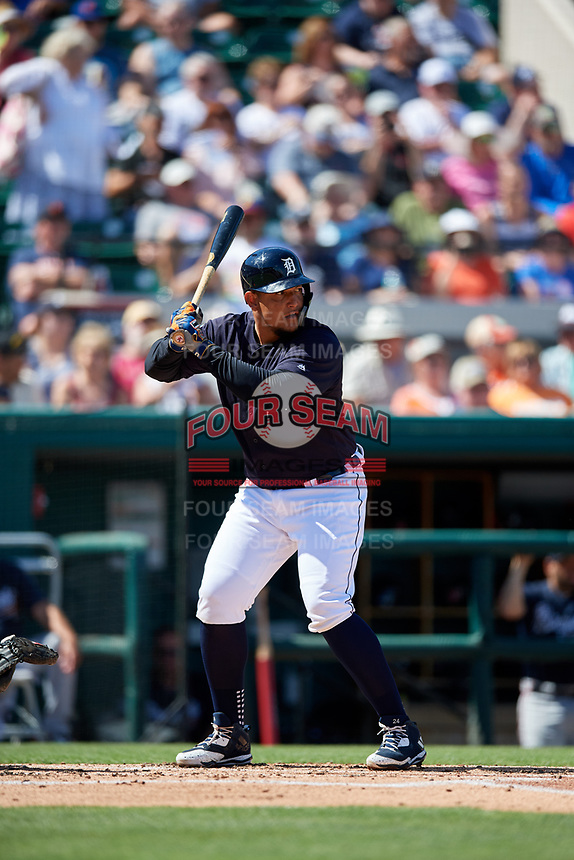 Detroit Tigers first baseman Miguel Cabrera (24) at bat during a Grapefruit League Spring Training game against the Atlanta Braves on March 2, 2019 at Publix Field at Joker Marchant Stadium in Lakeland, Florida.  Tigers defeated the Braves 7-4.  (Mike Janes/Four Seam Images)
