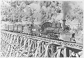 RGS #455 with Rocky Club excursion train on bridge 45-A.<br /> RGS  Ophir Loop, CO  7/1947