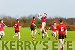 Sean O'Brien of ISK Killorglin takes possession against Bishopstown in the Frewen Cup in Currans on Friday.