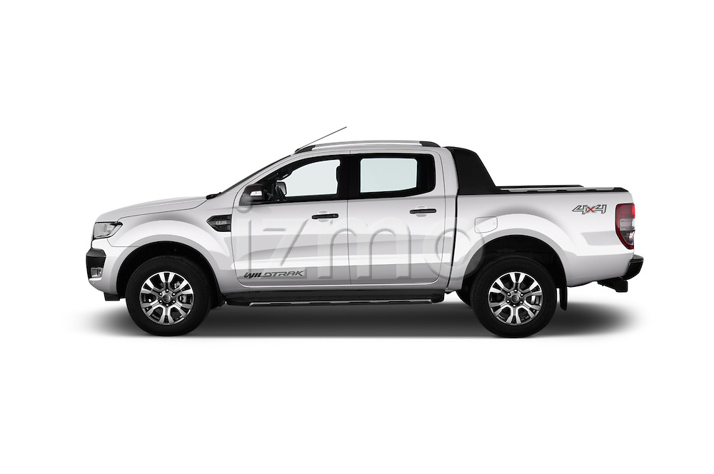 Car Driver side profile view of a 2016 Ford Ranger Wildtrak 4 Door Pickup Side View