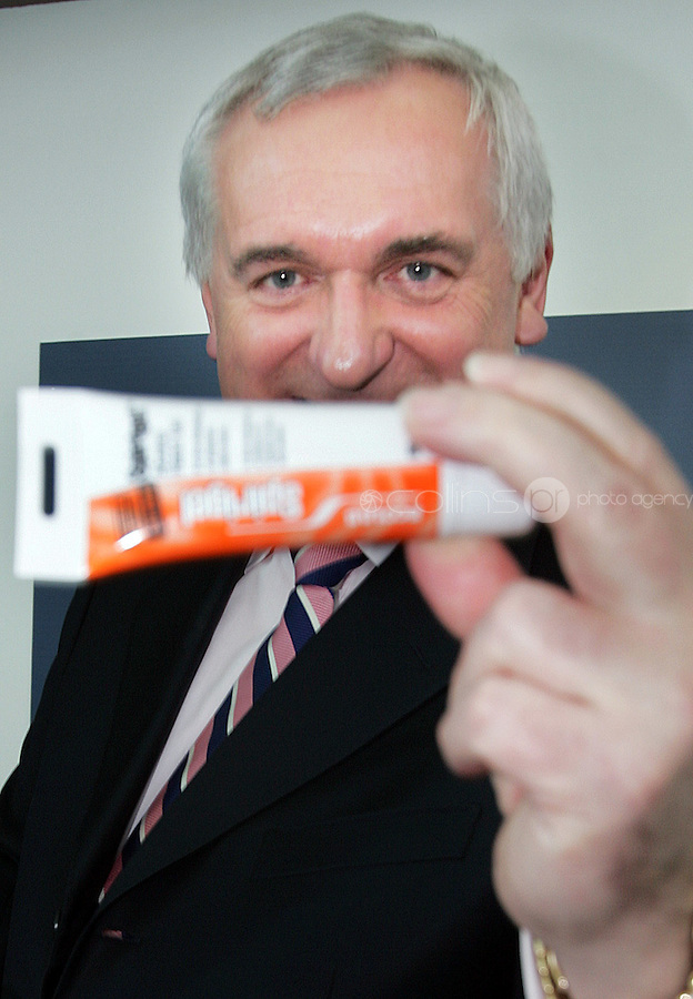 16/04/'07 Taoiseach Bertie Ahern with a tube of hand clenser  gel which Niall O'Carroll, Chairman of the Hermitage Medical Clinic presented him with at the Hermitage Medical Clinic this morning when the Taoiseach officially opened the new 126 bed private EUR130 million hospital in Lucan. The hospital will be one of the largest employers in West Dublin. growing from 170 to over 300 employees in the next 12 months...Picture Collins, Dublin, Colin keegan.