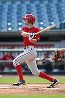 Jean-Francois Garon (21) of College Laval High School in Terrebonne, Quebec, Canada playing for the Philadelphia Phillies scout team during the East Coast Pro Showcase on August 1, 2014 at NBT Bank Stadium in Syracuse, New York.  (Mike Janes/Four Seam Images)