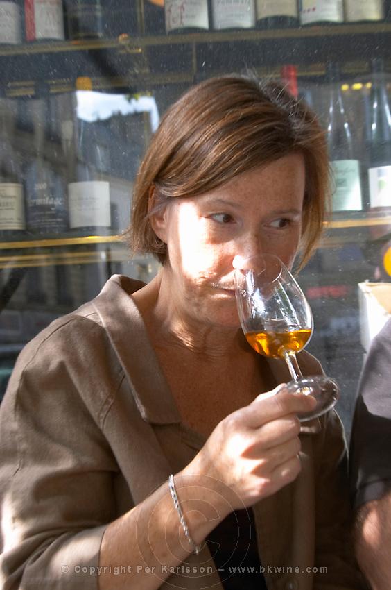 Britt Karlsson, BKWine, in Paris Cave Auge wine shop Paris, France.