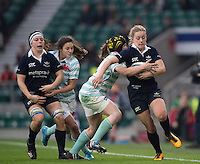 Twickenham, United Kingdom. Oxford's, Amelia ROSE is tackled by CUWRC, and driven of the pitch, during the  2016 Women's Varsity Rugby, [Oxford vs Cambridge], Twickenham. UK, at the RFU Stadium, Twickenham, England, <br /> <br /> Thursday  08/12/2016<br /> <br /> [Mandatory Credit; Peter Spurrier/Intersport-images]