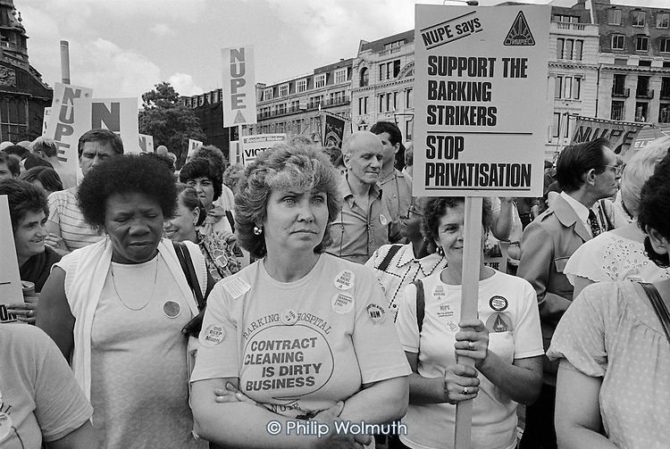 National Union of Public Employees (NUPE) demonstration in protest at plans to privatise the domestic workers at Barking Hospital.
