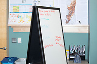 Participants' notes are visible on a whiteboard at the Metric Geometry and Gerrymandering Group (MGGG) hackathon at the Data Lab in the Tisch Library at Tufts University in Medford, Massachusetts, USA, on Thurs., Aug. 10, 2017. The hackathon is part of the first in a series of Geometry of Redistricting workshops put on by the MGGG. Academics, Geographic Information Systems (GIS) professionals, and legal professionals worked together to build tools useful in analyzing voting district data around the country.