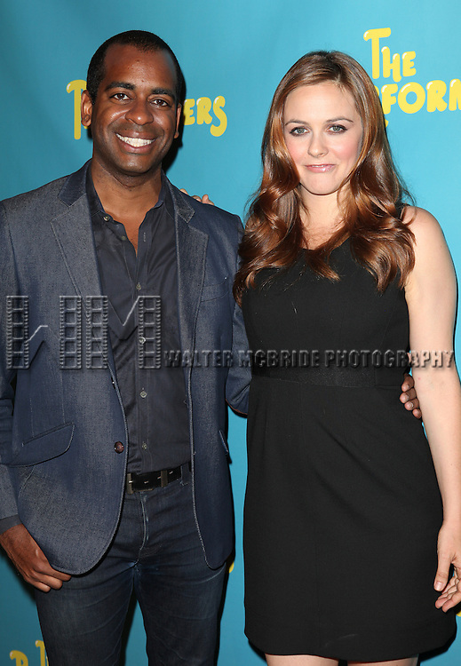 """Actor Daniel Breaker and actress Alicia Silverstone attends press event to introduce the cast and creators of the new Broadway play """"The Performers""""at the Hard Rock Cafe on Tuesday, Sept. 25, 2012 in New York."""
