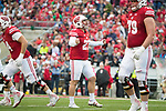 Wisconsin Badgers kicker Rafael Gaglianone (27) celebrates a field goal during an NCAA College Football Big Ten Conference game against the Purdue Boilermakers Saturday, October 14, 2017, in Madison, Wis. The Badgers won 17-9. (Photo by David Stluka)