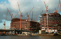 London Docklands:  Heron Quays from South Quay--Jan. '90.  Canary Wharf is beyond, to the north.
