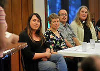 NWA Democrat-Gazette/MICHAEL WOODS --05/16/2015--w@NWAMICHAELW...  Members of the LGBT community (left to right) Justine Morgan Turnage, Cathy Campbell, President of NWA PFLAG, Raymond M. Sweet, and Rev. Gwen Fry, Episcopal priest, answer questions during a discussion panel Saturday evening hosted by the Unitarian-Universalists in Fayetteville as they share their faith stories with the public.