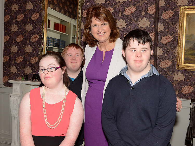 Conor O'Dowd, Megan McCormick Drogheda and Gavin Holmes Blackrock Dundalk with Minister for Social Protection Joan Bruton at the launch of the Walk Peer Programme in Bellingham Castle hotel. Photo:Colin Bell/pressphotos.ie