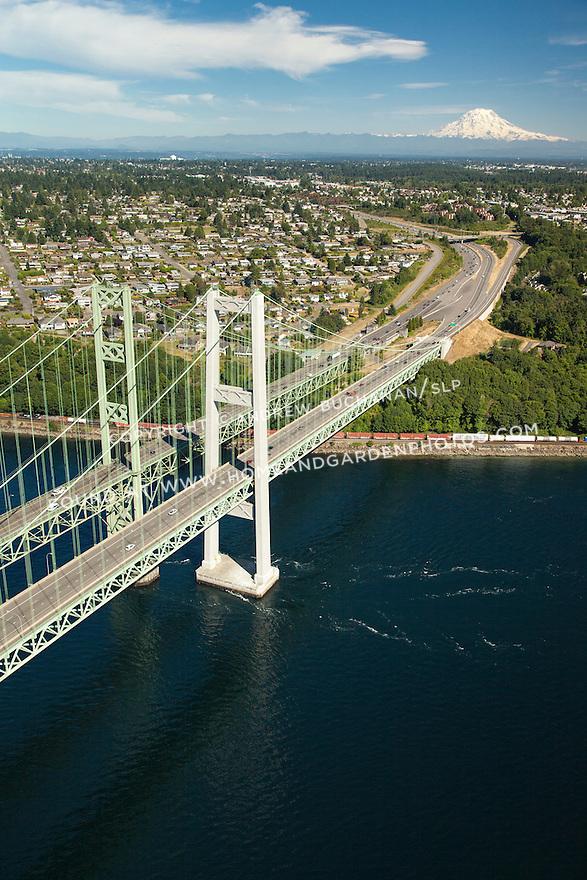 aerial view of Tacoma Narrows Bridge and Mount Rainier