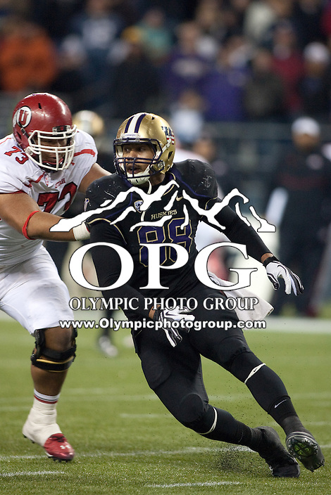 NOV 10, 2012: Washington's #88 Austin Seferian-Jenkins got the opportunity to play defensive end during the game against Utah.  Washington won 34-15 over Utah at CenturyLink Field in Seattle, WA...