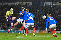 Jake Taylor of Exeter City left scores the first goal during Portsmouth vs Exeter City, Leasing.com Trophy Football at Fratton Park on 18th February 2020