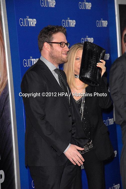 LOS ANGELES - DEC 11:  Seth Rogen, Barbra Streisand arrives to 'The Guilt Trip' premiere at Village Theater on December 11, 2012 in Westwood, CA