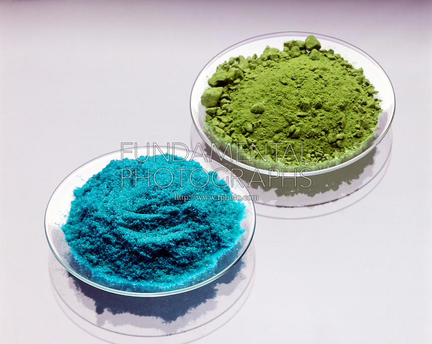 CUPRIC CHLORIDE (blue) & CUPROUS CHLORIDE (green)<br />