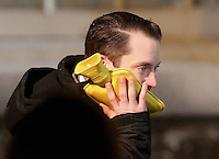 Pictured: Elijah Wood warms up his face with a hot water bottle. Tuesday 11 February 2014<br />