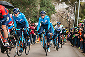 25th March 2018, Barcelona, Spain; Volta a Catalunya 2018 Cycling, Stage 7; Movistar TEAM leading the peloton during the stage 7 of la Volta Catalunya