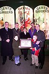 Michael Murphy, Image Business Centre, Mayor Sean Coolins, Denise Walsh and Martin Donnelly making a presentation to Dom Wilton of the Green Man for the best christmas window. Also pictured are Tori and Kiefer Wilton..Picture Paul Mohan Newsfile