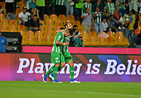 MEDELLÍN-COLOMBIA, 06-08-2019: Jugadores de Atlético Nacional, celebran el gol anotado a Atlético Huila,  durante partido de la fecha 4 entre Atlético Nacional y Atlético Huila, por la Liga Águila I 2019, jugado en el estadio Atanasio Girardot de la ciudad de Medellín. / Players of Atletico Nacional celebrate the scored goal to Atletico Huila, during a match of the 4th date between Atletico Nacional and Atletico Huila, for the Aguila Leguaje II 2019 played at the Atanasio Girardot Stadium in Medellin city. / Photo: VizzorImage / León Monsalve / Cont.