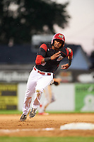 Batavia Muckdogs first baseman Kris Goodman (8) running the bases during a game against the State College Spikes on June 24, 2016 at Dwyer Stadium in Batavia, New York.  State College defeated Batavia 10-3.  (Mike Janes/Four Seam Images)