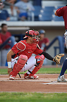 Williamsport Crosscutters catcher Rafael Marchan (13) waits to receive a pitch during a game against the Mahoning Valley Scrappers on August 28, 2018 at BB&T Ballpark in Williamsport, Pennsylvania.  Williamsport defeated Mahoning Valley 8-0.  (Mike Janes/Four Seam Images)