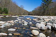 The Wild Ammonoosuc River in Landaff, New Hampshire during the spring months. During the 1800s, log drives were done on this river down to the Connecticut River.