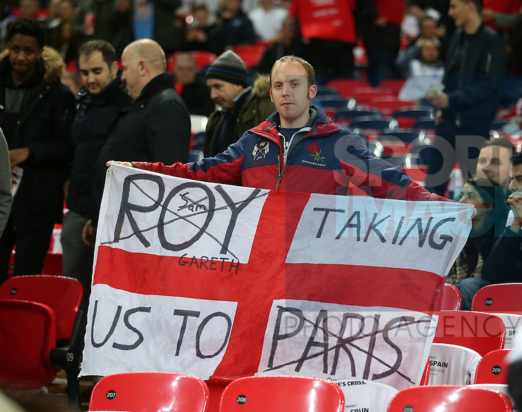 An England fan shows his support for the latest England manager during the friendly match at Wembley Stadium, London. Picture date November 15th, 2016 Pic David Klein/Sportimage
