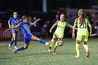 Boston, MA - Saturday April 29, 2017: Margaret Purce and Jess Fishlock during a regular season National Women's Soccer League (NWSL) match between the Boston Breakers and Seattle Reign FC at Jordan Field.