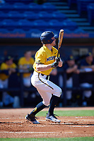 Michigan Wolverines left fielder Miles Lewis (3) at bat during a game against Army West Point on February 17, 2018 at Tradition Field in St. Lucie, Florida.  Army defeated Michigan 4-3.  (Mike Janes/Four Seam Images)