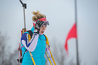 Miss Alaska 2015, Zoey Grenier trains for biathlon at Kincaid. Photo by James R. Evans