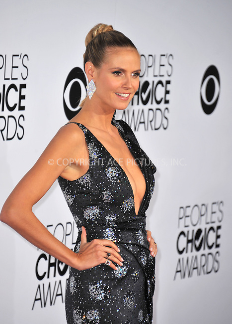 WWW.ACEPIXS.COM<br /> <br /> <br /> January 8, 2014, Los Angeles, CA.<br /> <br /> Heidi Klum arriving atThe 40th Annual People's Choice Awards held at Nokia Theatre L.A. Live on January 8, 2014 in Los Angeles, California. <br /> <br /> <br /> <br /> <br /> <br /> <br /> By Line: Peter West/ACE Pictures<br /> <br /> ACE Pictures, Inc<br /> Tel: 646 769 0430<br /> Email: info@acepixs.com