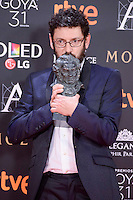 Manolo Solo pose to the media with the Goya award at Madrid Marriott Auditorium Hotel in Madrid, Spain. February 04, 2017. (ALTERPHOTOS/BorjaB.Hojas) /NORTEPHOTO.COM