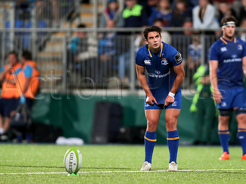 25th August 2017, Donnybrook Stadium, Dublin, Ireland; Pre Season Rugby Friendly; Leinster Rugby versus Bath Rugby; Joey Carbery (Leinster) lines up a penalty attempt