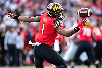 College Park, MD - NOV 11, 2017: Maryland Terrapins wide receiver D.J. Moore (1) with the ball on his finger tips before bringing it in during game between Maryland and Penn State at Capital One Field at Maryland Stadium in College Park, MD. (Photo by Phil Peters/Media Images International)