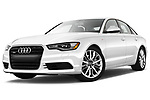 Stock pictures of low aggressive front three quarter view of 2012-2014 Audi A6  Premium Plus 4 Door Sedan