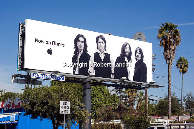 Billboard for i tunes featuring the Beatles  in Los Angeles