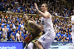 16 January 2016: Notre Dame's Zach Auguste (30) and Duke's Marshall Plumlee (40). The Duke University Blue Devils hosted the University of Notre Dame Fighting Irish at Cameron Indoor Stadium in Durham, North Carolina in a 2015-16 NCAA Division I Men's Basketball game. Notre Dame won the game 95-91.
