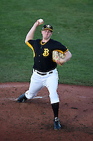Bradenton Marauders pitcher Henry Hirsch (50) delivers a pitch during a game against the Charlotte Stone Crabs on April 22, 2015 at McKechnie Field in Bradenton, Florida.  Bradenton defeated Charlotte 7-6.  (Mike Janes/Four Seam Images)