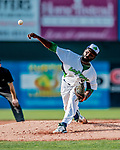 29 July 2018: Vermont Lake Monsters pitcher Rafael Kelly on the mound against the Batavia Muckdogs at Centennial Field in Burlington, Vermont. The Lake Monsters defeated the Muck Dogs 4-1 in NY Penn League action. Mandatory Credit: Ed Wolfstein Photo *** RAW (NEF) Image File Available ***