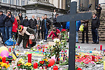 "BRUSSELS - BELGIUM - 23 March 2016 -- Belgium in mourning after the terrorist attack in  Maelbeek metro station - EU quarters, and the Brussels airport in Zaventem. -- The memorial"" at the Bourse in the city center. -- PHOTO: Juha ROININEN / EUP-IMAGES"