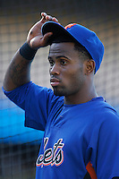 Jose Reyes of the New York Mets during batting practice before a game from the 2007 season at Dodger Stadium in Los Angeles, California. (Larry Goren/Four Seam Images)