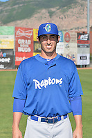 James McDonald (17) of the Ogden Raptors poses for a photo during media day on June 14, 2014 at Lindquist Field in Ogden, Utah. (Stephen Smith/Four Seam Images)