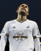 Gylfi Sigurosson of Swansea City rues a missed chance during the Barclays Premier League match between Manchester United and Swansea City played at Old Trafford, Manchester on January 2nd 2016