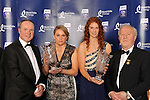 At the Bord G&aacute;is Energy Munster GAA Sports Star of the Year Awards in The Malton Hotel, Killarney on Saturday night were front from left, Dave Kirwan, Managing Director, Bord Gais Energy, Michelle Casey from Limerick, Camogie Award, Louise Ni Mhuireartaigh Ladies Footballer of the Year award  and Robert Frost, Chairman, Munster GAA.<br /> Picture by Don MacMonagle<br /> <br /> PR photo from Munster Council