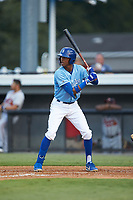 Burle Dixon (12) of the Burlington Royals at bat against the Danville Braves at Burlington Athletic Stadium on August 9, 2019 in Burlington, North Carolina. The Royals defeated the Braves 6-0. (Brian Westerholt/Four Seam Images)