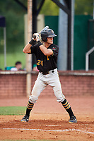 Bristol Pirates catcher Manny Bejerano (24) at bat during a game against the Elizabethton Twins on July 29, 2018 at Joe O'Brien Field in Elizabethton, Tennessee.  Bristol defeated Elizabethton 7-4.  (Mike Janes/Four Seam Images)